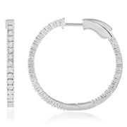 Round Diamond Hoops Made In 14K White Gold
