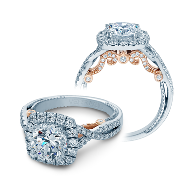 INS-7086CU-2T- Verragio - 14K 0.80ctw Semi- Mount Engagement Ring
