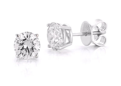 Four Prong Studs Made In 14K White Gold (J-K Color, SI Clarity)