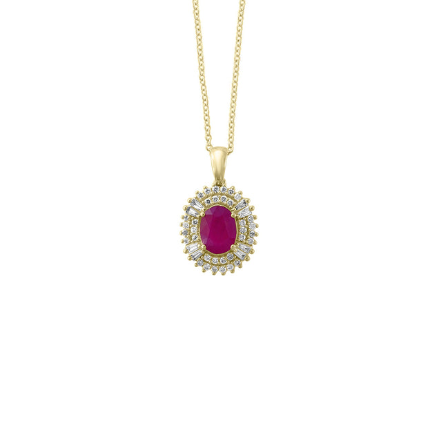 Effy 14K Yellow Gold Diamond,Natural Mozambique Ruby Pendant