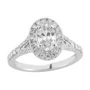 Halo Split Shank Diamond Engagement Ring made in 14k white gold (Total diamond weight 7/8 carat)-Oval