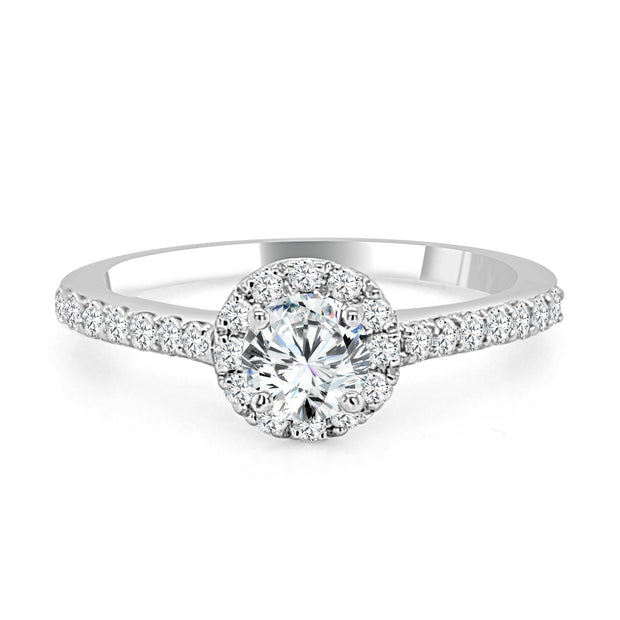 Halo Prong Set Diamond Engagement Ring made in 14k White gold (Total diamond weight 1/2 carat)-Round