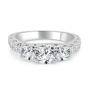 Three Stone Fancy Prong Set Diamond Engagement Ring made in 14k White gold-Round
