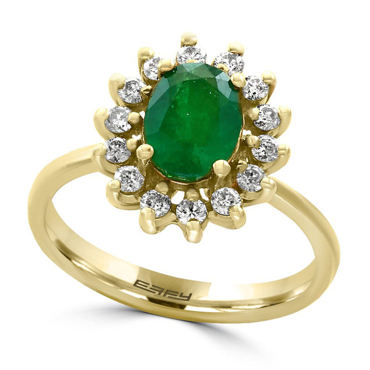 EFFY 14K YELLOW GOLD DIAMOND,NATURAL EMERALD RING