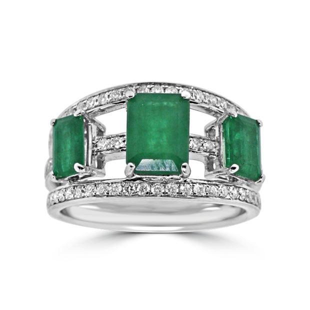 Fancy Emerald Ring with Diamonds