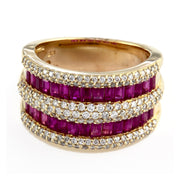 Effy 14K Yellow Gold Diamond,Natural Ruby Ring