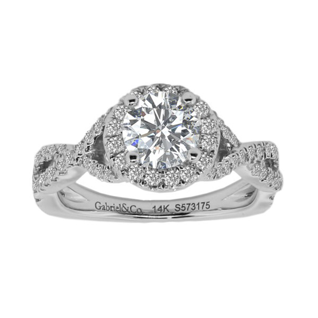18K WG Diamond Halo Engagement Ring, total weight 1.10ctw