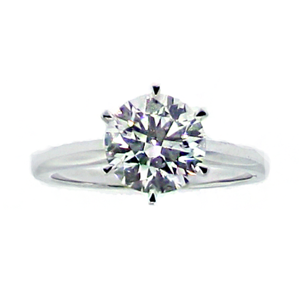 18K WG GIA 2.01CT. 6-Claw Solitaire Engagement Ring