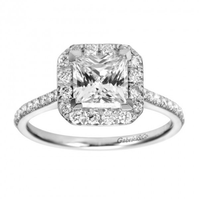 18K WG with 1.05 Ct Center Stone, total weight 1.42 Ctw, Gabriel & CO Diamond Fancy Ring, GIA Diamond 7111471405
