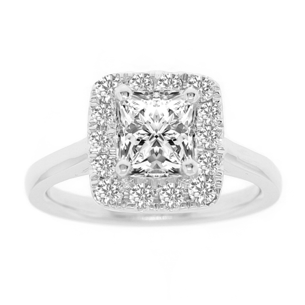 18K WG with GIA 1.50ct center stone, total weight 1.92ctw, Cushion Halo Fancy Engagement Ring