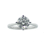925 Sterling Silver GIA 1.75ct. 4-Claw Solitaire Engagement Ring