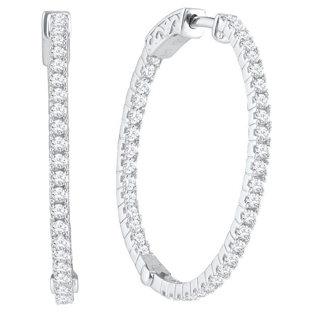 10K White Gold 1.00 Ctw. Diamond Hoop Earrings