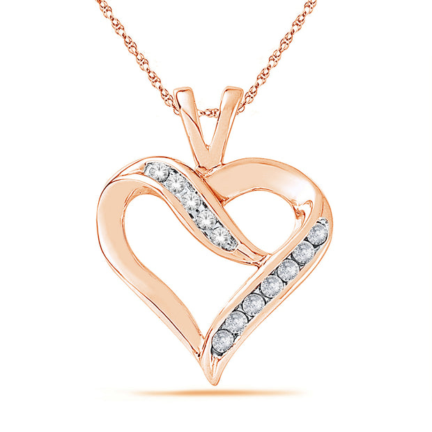 SKP19965-06 - 10K Rose Gold 0.06ctw diamonds pendant