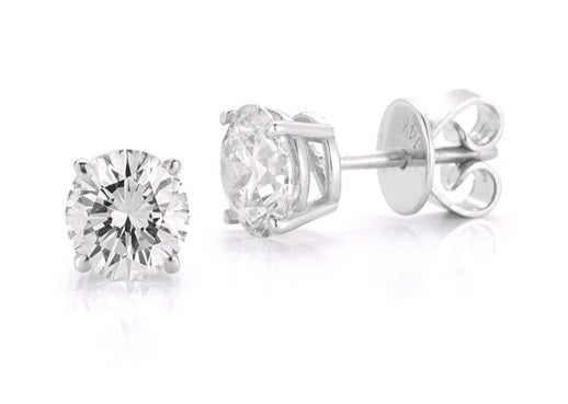 Four Prong Studs Made In 14K White Gold (G-H Color, I1 Clarity)