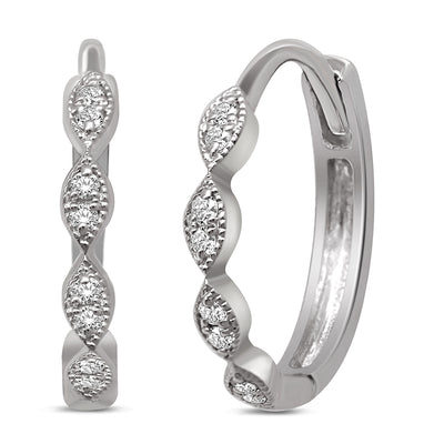 14K White Gold 0.1 Ctw. Diamond Hoop Earrings