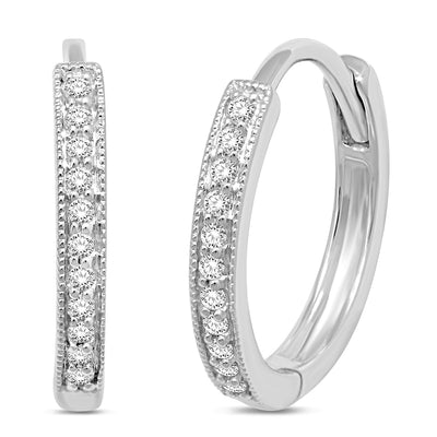 14K White Gold 1 Ctw. Diamond Hoop Earrings