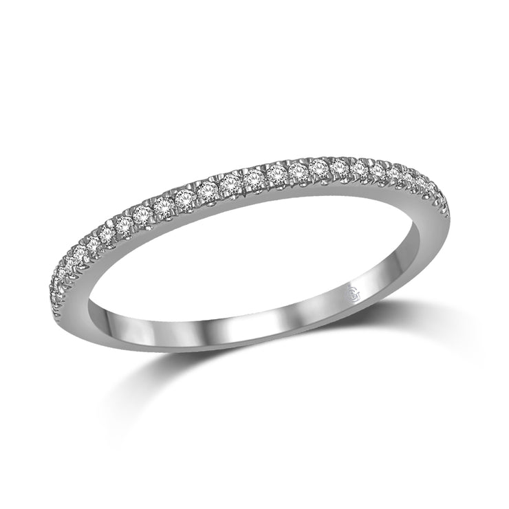 14K White Gold 1/6 Ct.Tw. Classic Diamond Half Eternity Stackable Band