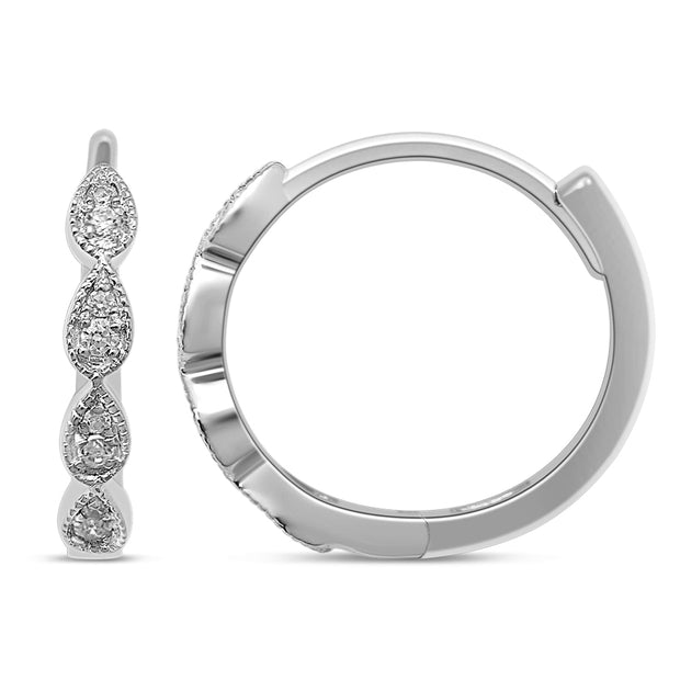 14K White Gold 0.19 Ctw. Diamond Hoop Earrings