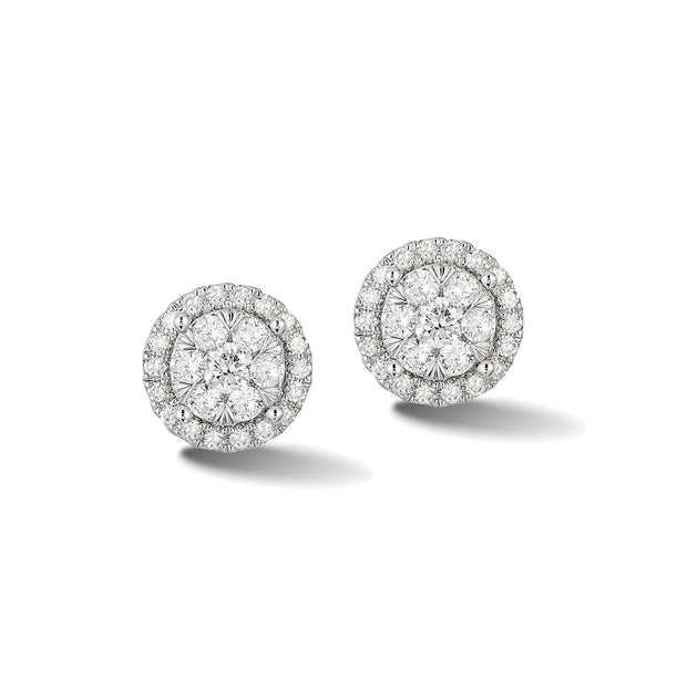 14K White Gold Effy Floral Diamond Floral Stud Earrings