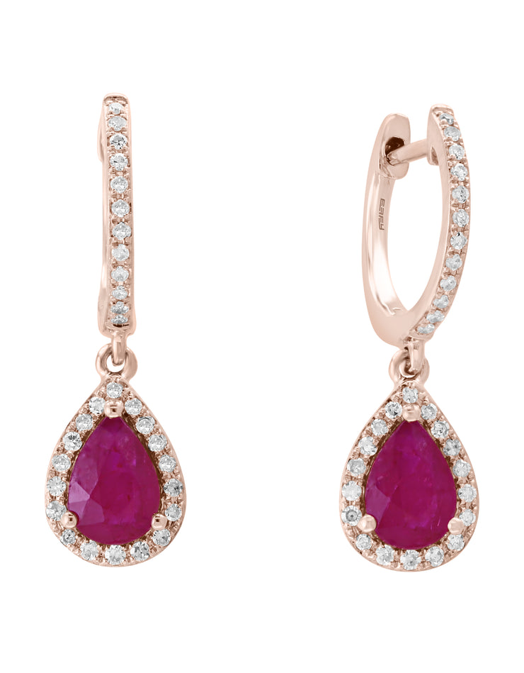 Effy 14K Rose Gold Diamond,Natural Mozambique Ruby Earrings