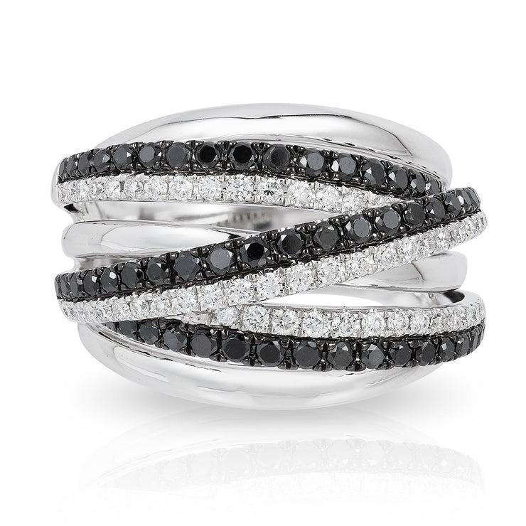 Effy 14K White Gold 0.96 CT. TW.  Black And White Round Cut Diamond Fancy Twisted Ring