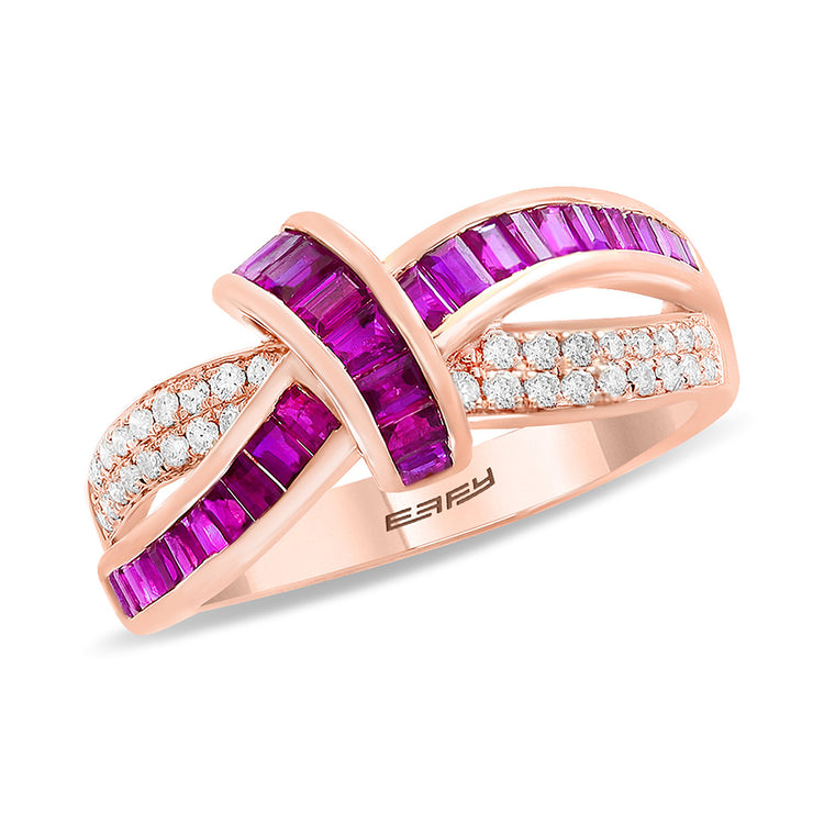 Effy 14K Rose Gold Diamond, Natural Ruby Ring