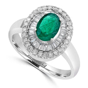 Effy 14K White Gold Diamond,Natural Emerald Ring