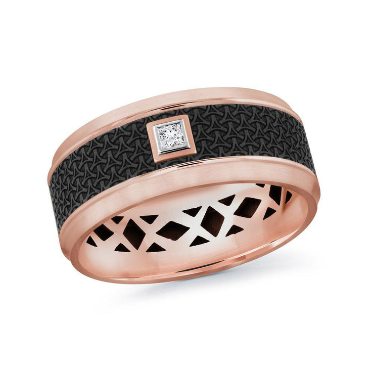 carbon-fiber-14k-rose-gold-imprinted-motif-bezel-set-princess-diamond-mens-wedding-band-9-mm-fame-diamonds