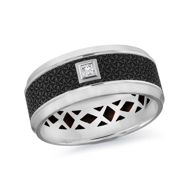 carbon-fiber-14k-white-gold-imprinted-motif-bezel-set-princess-diamond-mens-wedding-band-9-mm-fame-diamonds