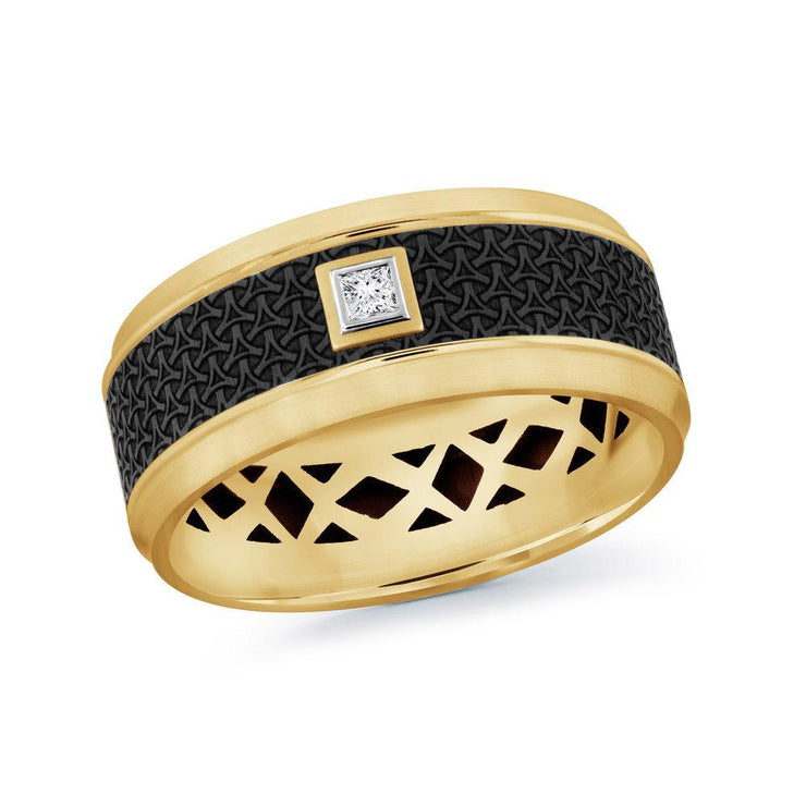 carbon-fiber-14k-yellow-gold-imprinted-motif-bezel-set-princess-diamond-mens-wedding-band-9-mm-fame-diamonds