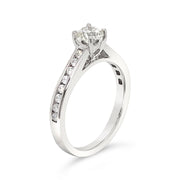 Classic Solitaire Channel-Set Side-Diamond Engagement Ring