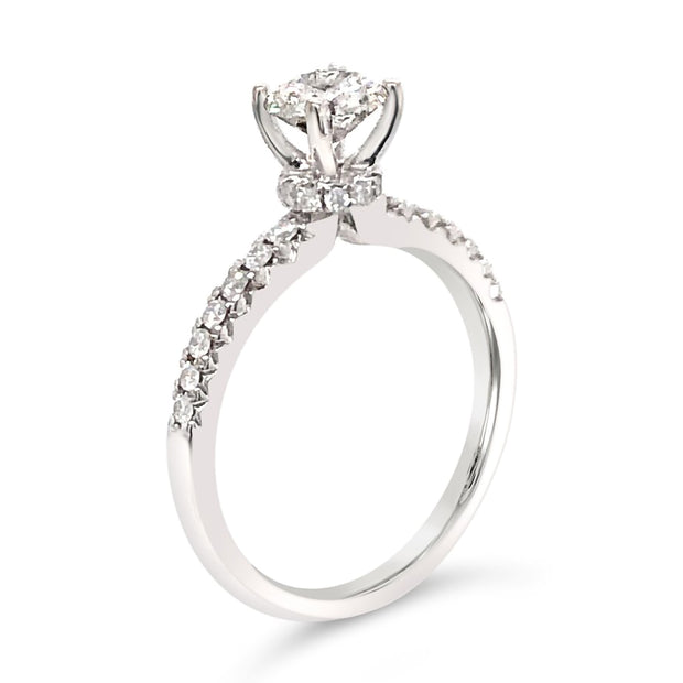 Fancy Eternity-Head Kissing Ruby Side-Diamond Engagement Ring