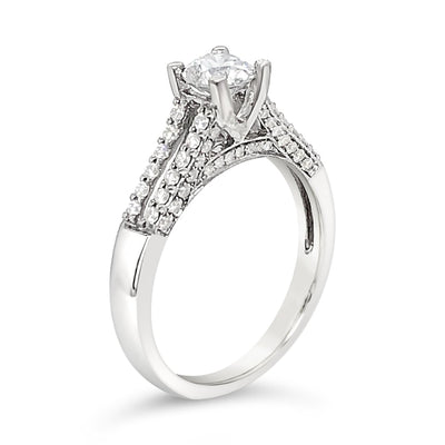 2-Row Diamond-Band Solitaire with Side-Stone Engagement Ring