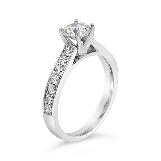 4-Prong Solitaire Channel-Set Side-Stone Diamond Engagement Ring