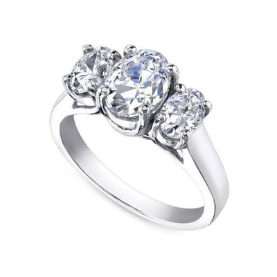 14K White Gold Oval Three-Stone Engagement Diamond Ring