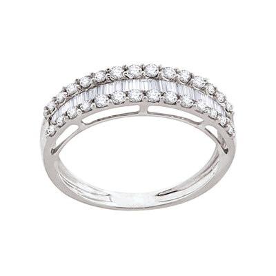 18 k white gold 0.46 ctw round/baguette diamond three-row band