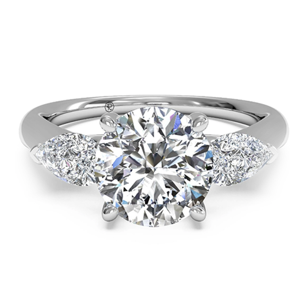 Ritani 1RZ1010P 14K White Gold 0.40ctw 3-Stone Pear Shape Side-Diamond Engagement Ring | Fame Diamonds