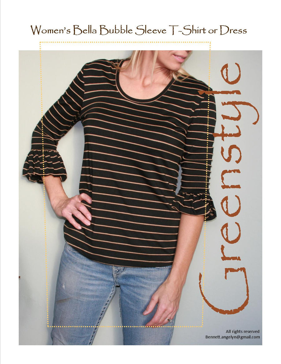 Women's Bella Bubble Sleeve T-Shirt or Dress PDF Pattern for Women in Sizes XXS to 3XL