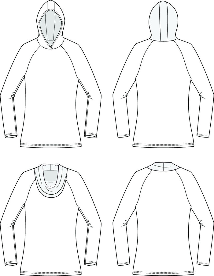 Centerfield Raglan T-Shirt Add-On Pack Sizes XXS to 3X Sewing Pattern