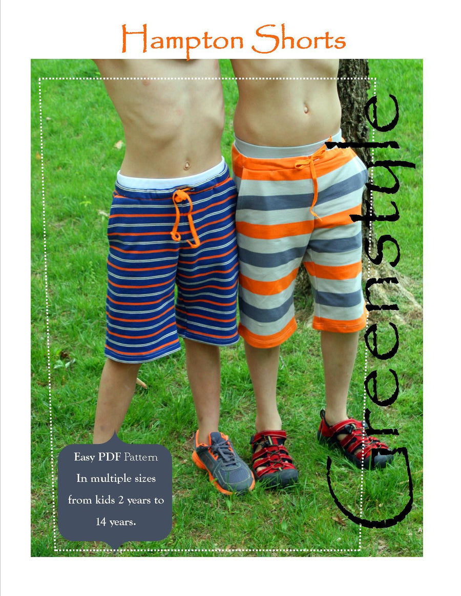 Hampton Shorts PDF Pattern and Tutorial for Boys or Girls 2-14 years in Comfy Knit