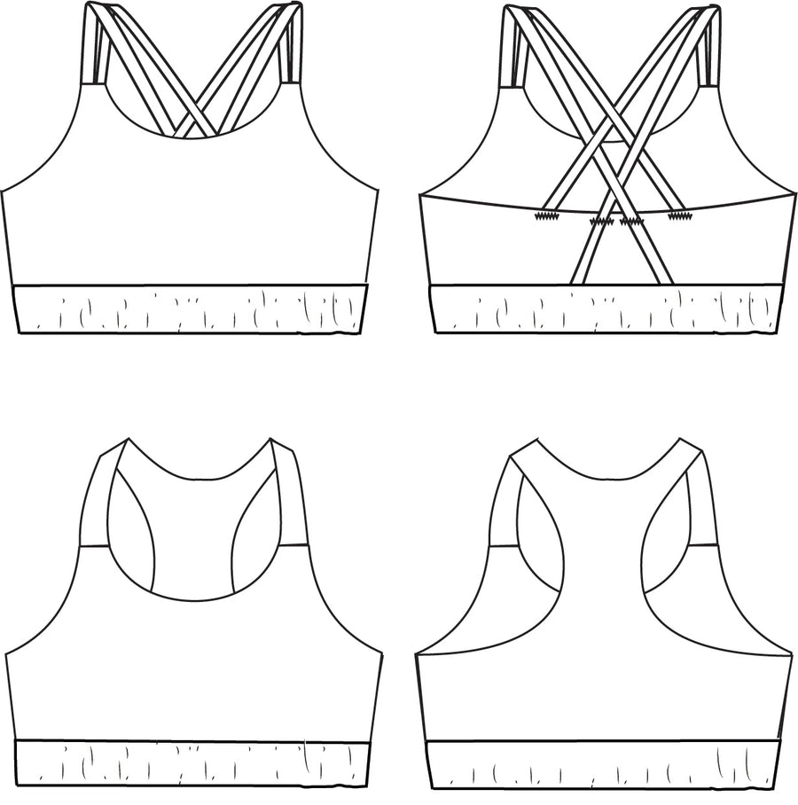 Bundle - Adult and Youth Power Sports Bra PDF Sewing Pattern