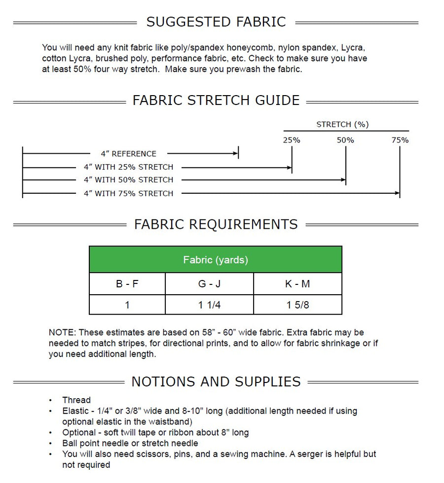 Lift Leggings PDF Pattern Sizes B - M
