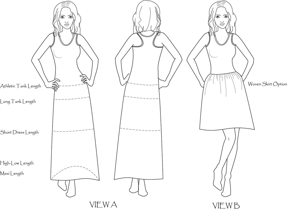 Lille Racerback Tank or Dress PDF Sewing Pattern in XXS to 3XL
