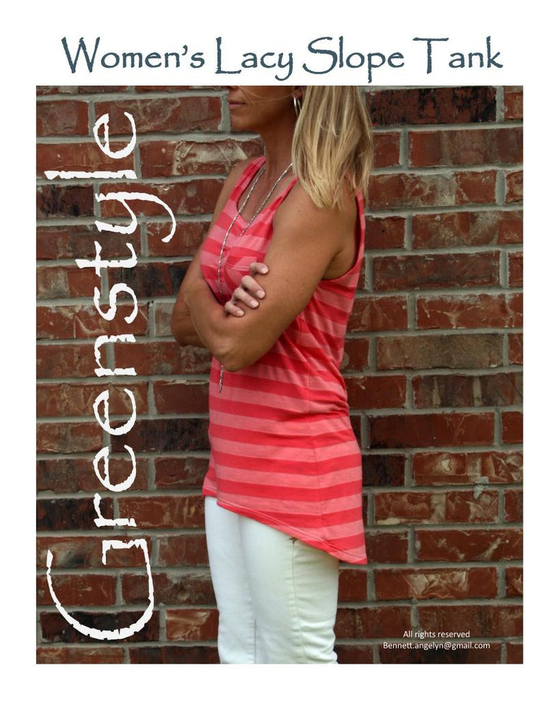 Women's Lacy Slope Tank Top in XS to 3XL PDF Sewing Pattern
