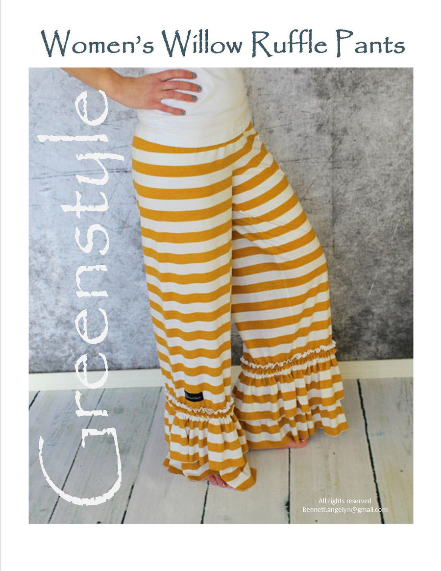 Willow Ruffle Pant Sewing PDF Pattern in Teen and Women's Sizes With Yoga Waist Band Option