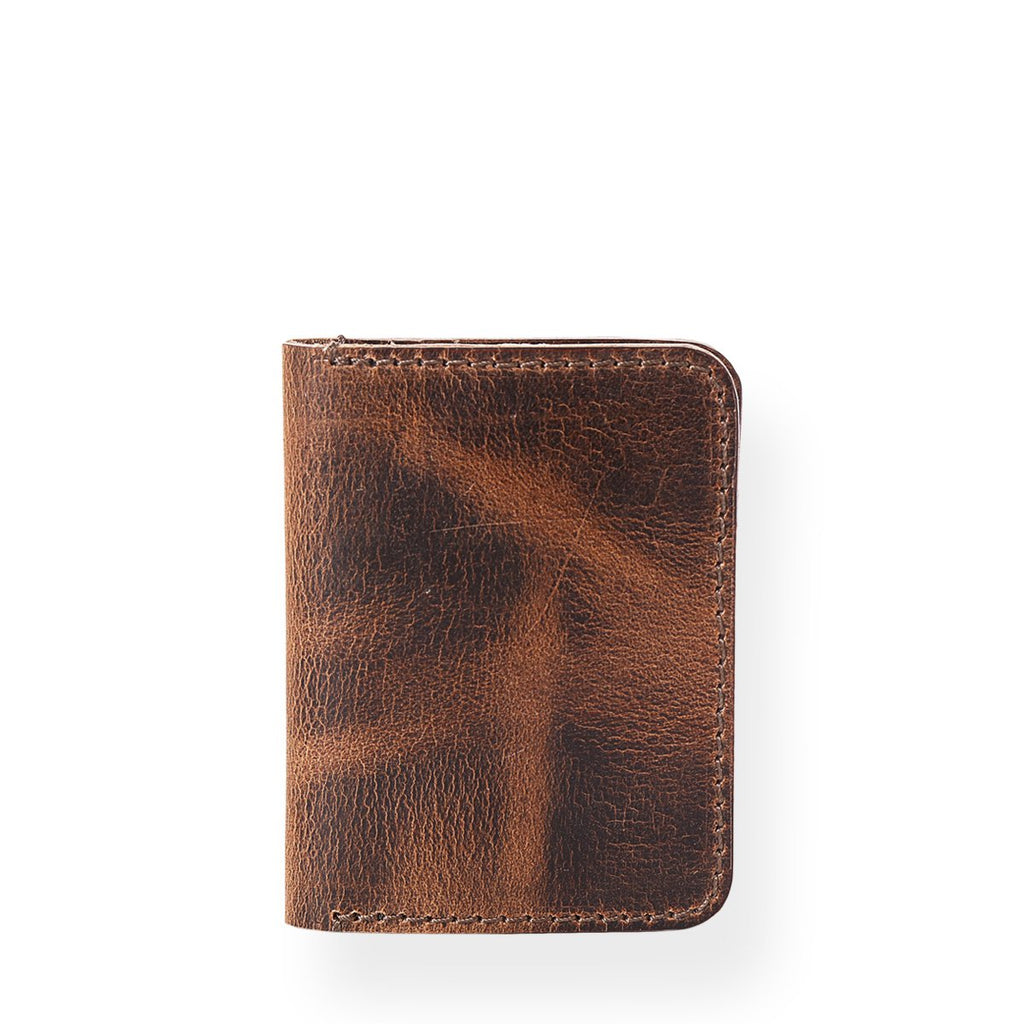 Bi - Fold Vertical Card Holder (Bourbon Brown)