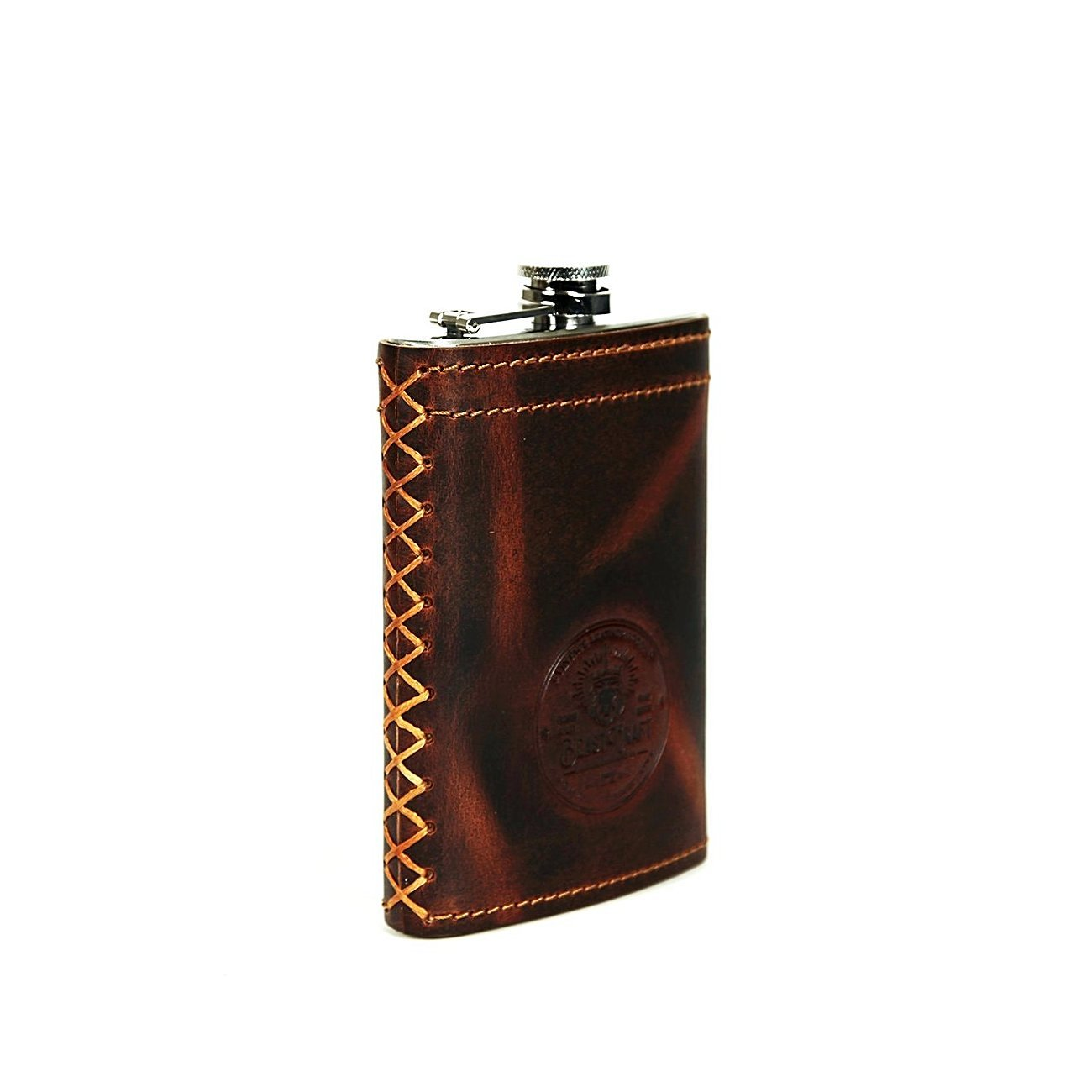 Whiskey Hip Flask 9 oz (Stainless Steel & Tobacco Tan Leather)