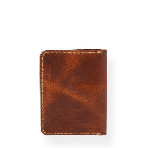 Bi - Fold Vertical Card Holder (Tobacco Tan)