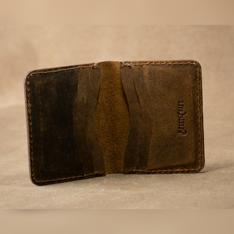 Bi - Fold Vertical Card Holder (Vintage Brown)