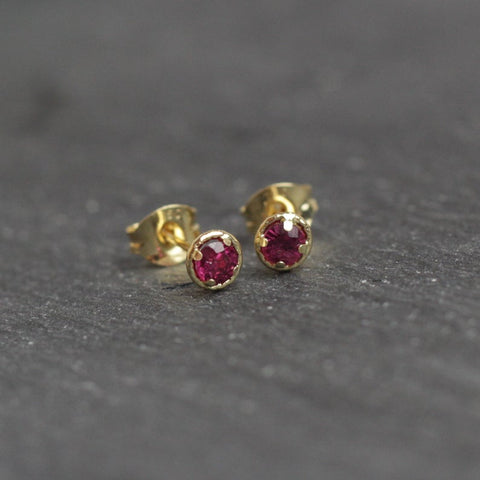 18ct Gold Ruby Halo Earrings